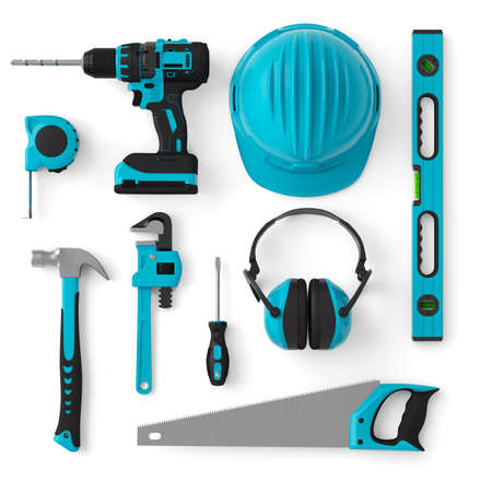 Top view of green construction tools for repair and installation on white Standard-Bild