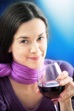 Woman is drinking wine. Stock Photo - 4294798
