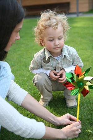 Boy with a pinwheel Stock Photo - 4906758