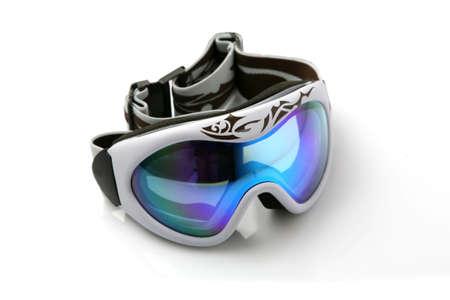 Ski nocturne sur fond blanc  Banque d'images - 5746170