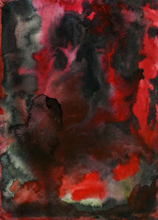 Watercolor painting background  Red and black photo