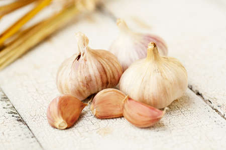homegrown: Homegrown garlic on vintage table