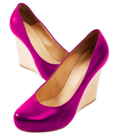 Close up of a pink high heels on white background photo
