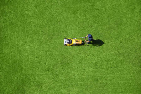 A man mowing the lawn Archivio Fotografico