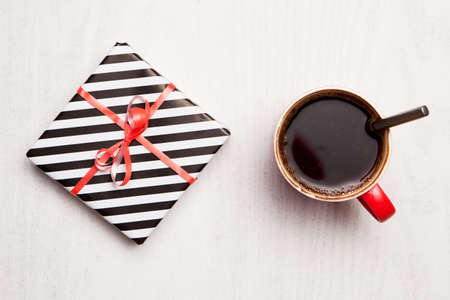 wooden box: Coffee and present. Holiday celebration Stock Photo