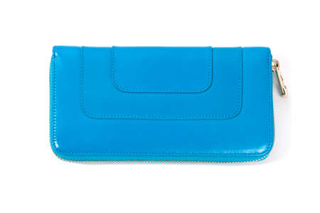 designer bag: Blue Leather Purse isolated on white Stock Photo