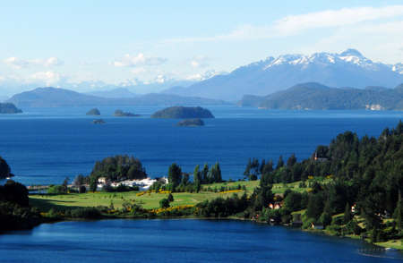 bariloche: paradise country house on a lake near mountains Stock Photo