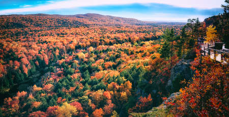 Spectacular Fall Color. Autumn valley landscape in Northern Michigan. Wide scenic background with gorgeous copy space.
