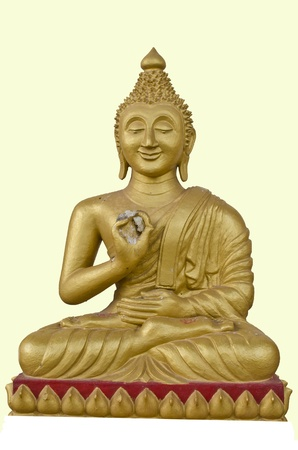 bless: Smiling Buddha in Ligh Yellow Background