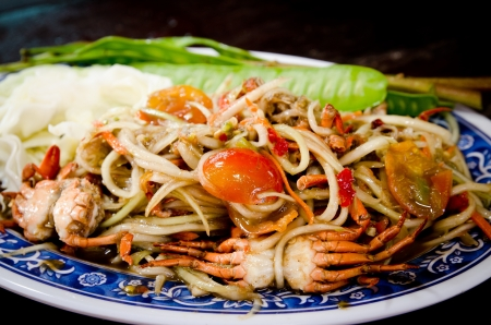 crap: Papaya salad with crap Stock Photo