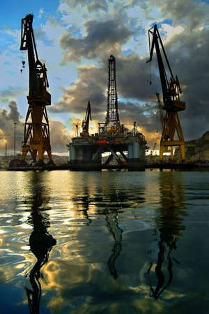 repaired: Oil rig being repaired in dockyards, Malta, Europe.