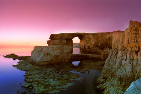 rock formation: Rock formation at sunset, Dwejra, Island of Gozo, Malta, Europe.