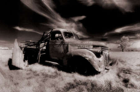 infra red: old truck in field, infra red Stock Photo