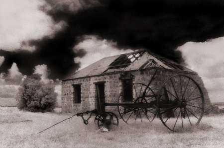 infra red: old farm house, infra red