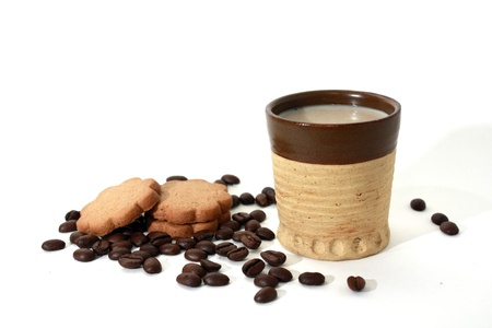 Coffee beans, gingerbread & coffee mug photo