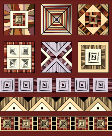 Coloured set of geometric ethnic ornaments Vector