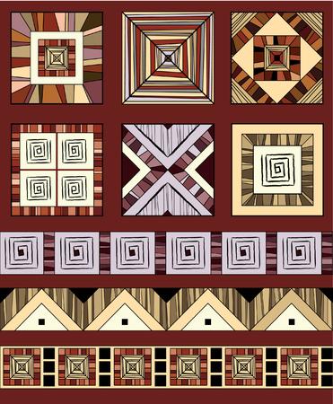 etnia: Conjunto coloreado de adornos étnicos geométricas Vectores