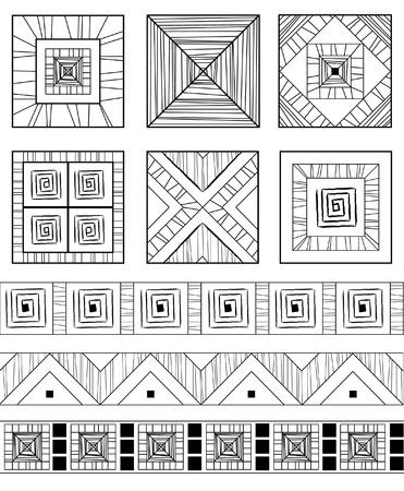 Monochrome set of geometric ethnic ornamens Vector