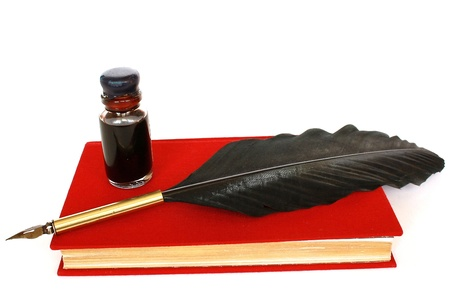 Red book, bottle of ink  and quill isolated on white background Stock Photo - 8930895