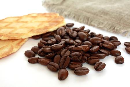 stillife: Coffee beans, biscuit & linen cloth stillife Stock Photo