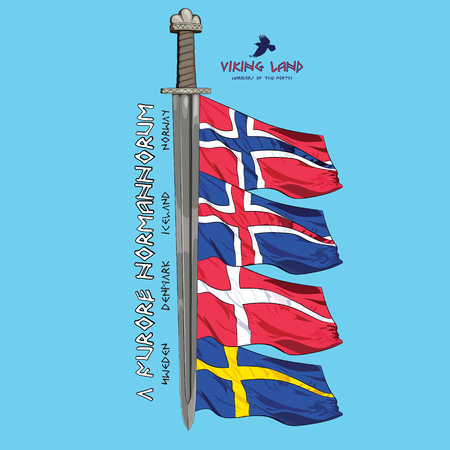 corvus: Design with a sword of the Vikings and the flags of the Scandinavian countries - Sweden, Norway, Iceland, Denmark and inscriptions runes , vector illustration, eps-10 Illustration