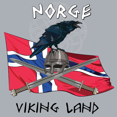 corvus: Black crow sitting on a Viking helmet, crossed swords on the background of the Norwegian banner and with the inscription - Viking Land, vector illustration, eps-10