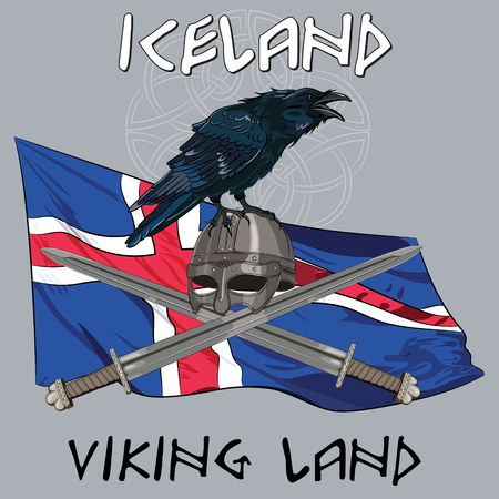 red cross red bird: Black crow sitting on a Viking helmet, crossed swords on the background of the Icelandic banner and with the inscription - Viking Land , vector illustration, eps-10