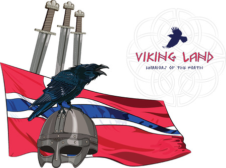 corvus: Black crow sitting on a Viking helmet, three swords on the background of the Norwegian banner and with the inscription - Viking Land , vector illustration, eps-10