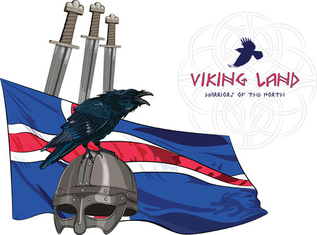 corvus: Black crow sitting on a Viking helmet, three swords on the background of the Icelandic banner and with the inscription - Viking Land , vector illustration, eps-10 Illustration
