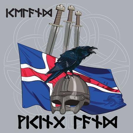 corvus: Black crow sitting on a Viking helmet, three swords on the background of the Icelandic banner, vector illustration, eps-10