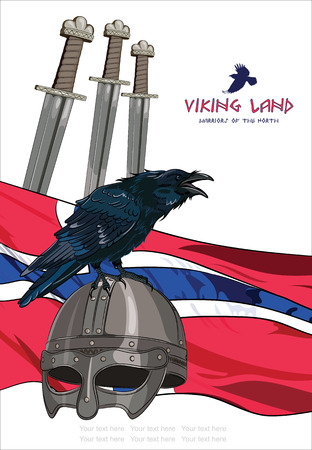 corvus: Black crow sitting on a Viking helmet, three swords on the background of the Norwegian banner , and with the inscription - Viking Land vector illustration, contains clipping mask , eps-10