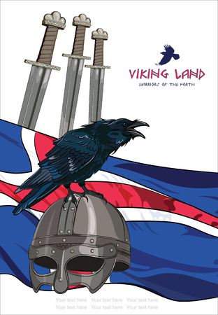 red cross red bird: Black crow sitting on a Viking helmet, three swords on the background of the Icelandic banner and with the inscription - Viking Land , vector illustration, contains clipping mask, eps-10