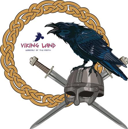 corvus: Black crow sitting on a Viking helmet with two crossed swords on background Scandinavian pattern, vector illustration, eps-10