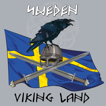 red cross red bird: Black crow sitting on a Viking helmet, crossed swords on the background of the Sweden banner and with the inscription - Viking Land, vector illustration, eps-10