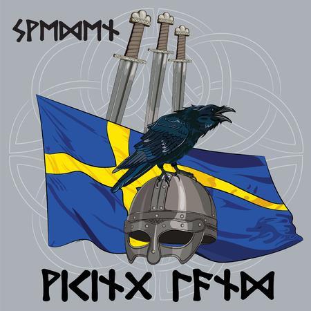 corvus: Black crow sitting on a Viking helmet, three swords on the background of the Sweden banner, vector illustration, eps-10 Illustration