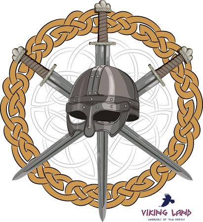 Viking helmet with three crossed swords on background Scandinavian pattern, vector illustration, eps-10