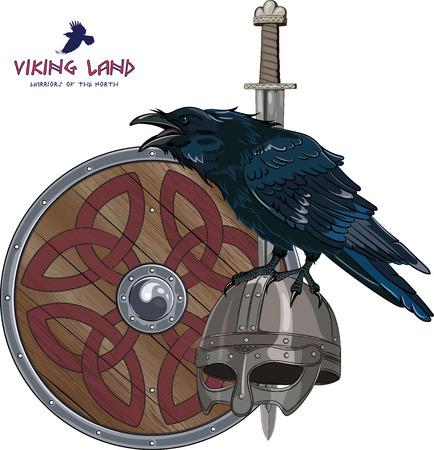 Diseño con espada, escudo, casco de vikingo nórdico y se sienta en ella cuervo, aislado en blanco, ilustración vectorial, eps-10 Ilustración de vector