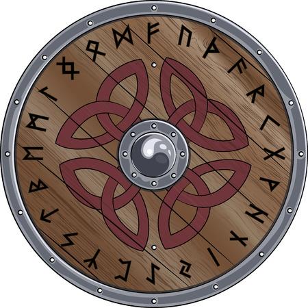 escudo redondo de Viking está decorado con adornos escandinava y las runas, ilustración vectorial, EPS-10