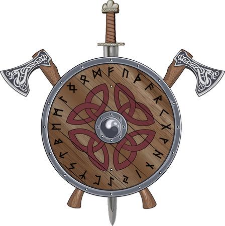 Dos escudo de Viking hacha, espada final decoradas runas escandinavas y ornamentales, aislado en blanco, ilustración vectorial, eps-10