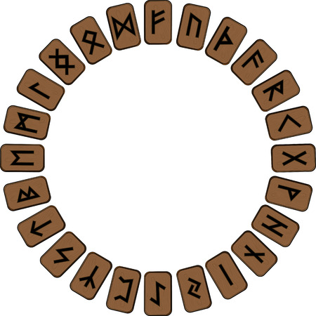 A circle of wooden planks to put on them in the Scandinavian runes, futhark, isolated on white, vector illustration, eps-10