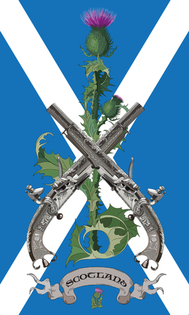 The Symbols Of Scotland. Scottish thistles and two crossed Scottish flintlock pistol in the background of the flag of Scotland, vector illustration, eps-10