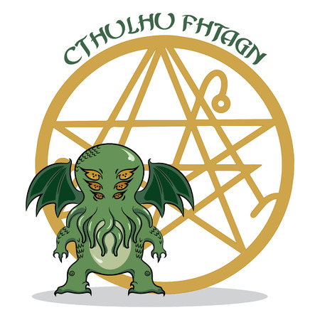 monstrous: Cthulhu. Monstrous Cthulhu in the background of a pentagram, isolated on white, vector illustration