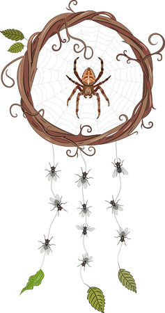 Garden-spider sitting in a web in a wreath of vines, forming a dream catcher and hanging flies on the webs, vector illustration, eps-10 Illustration