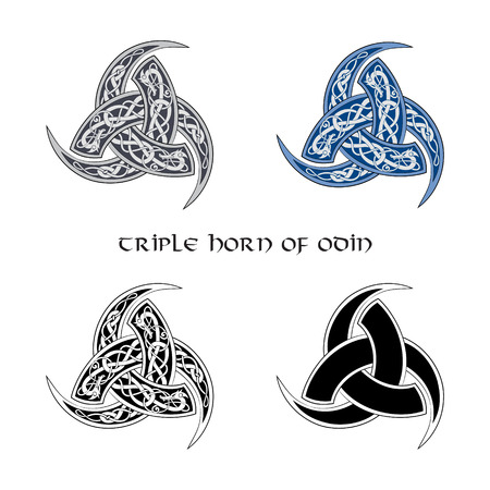 Triple Horn of Odin decorated with ornaments, set, isolated on white, vector illustration