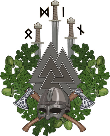 The oak wreath, a Viking helmet and two crossed battle-axes, three swords of the Vikings and Walknut with runes, isolated on white, vector illustration, eps-10  イラスト・ベクター素材