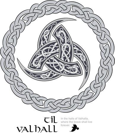 Cuerno triple de Odin decorado con adornos scandinavic, ilustración vectorial