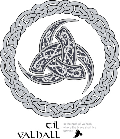 germanic: Triple Horn of Odin decorated with Scandinavic ornaments , vector illustration