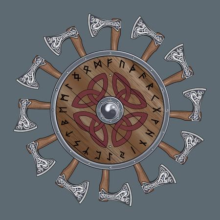 El círculo de la batalla de Viking ejes, escudo de Viking decorada con runas nórdicas, ilustración vectorial, EPS-10