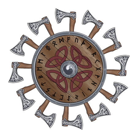 The circle of battle axes Viking, shield Viking decorated with Nordic runes, vector illustration, eps-10