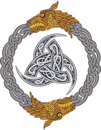 triskele: Golden dragons in silver wreath with Triple Horn of Odin decorated with Scandinavic ornaments, vector illustration Illustration